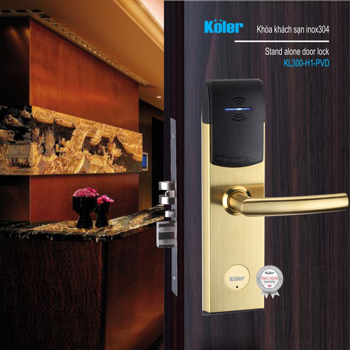 Khóa khách sạn Koler-germany KL300-H1-PVD