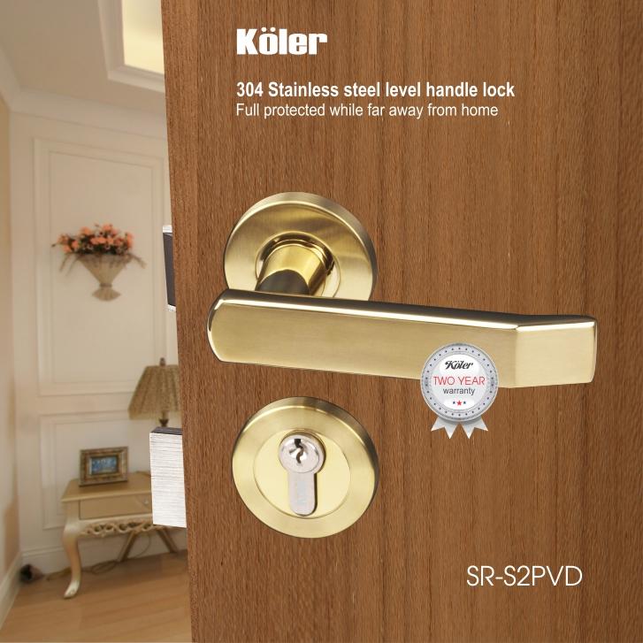 Khóa cửa tay gạt EURO style hiệu Koler SR-S2 MirrorPVD