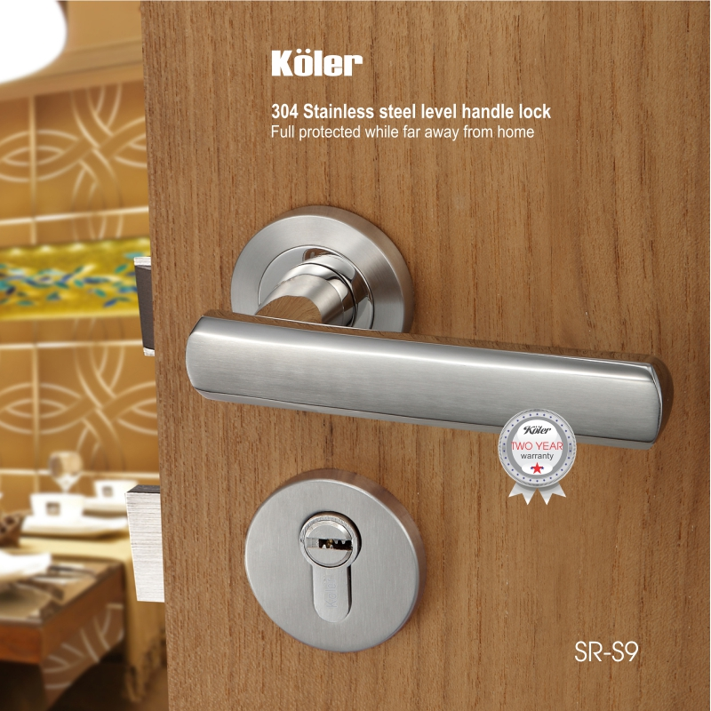Khóa cửa tay gạt EURO style hiệu Koler SR-S9 Mirror/Hairline