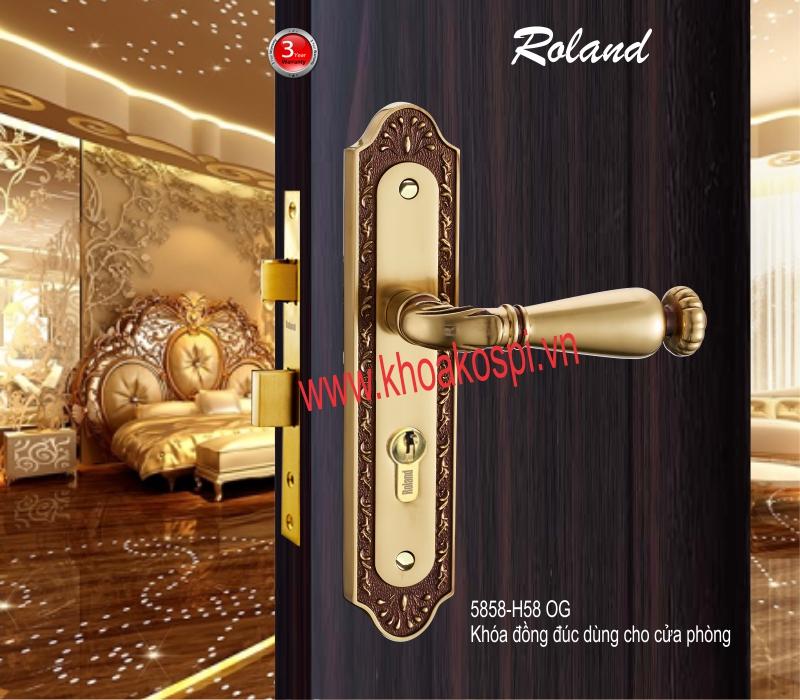 Khóa đồng đúc cửa phòng hiệu Roland 5858-H58 OG