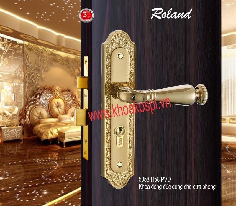 Khóa đồng đúc cửa phòng hiệu Roland 5858-H58 PVD
