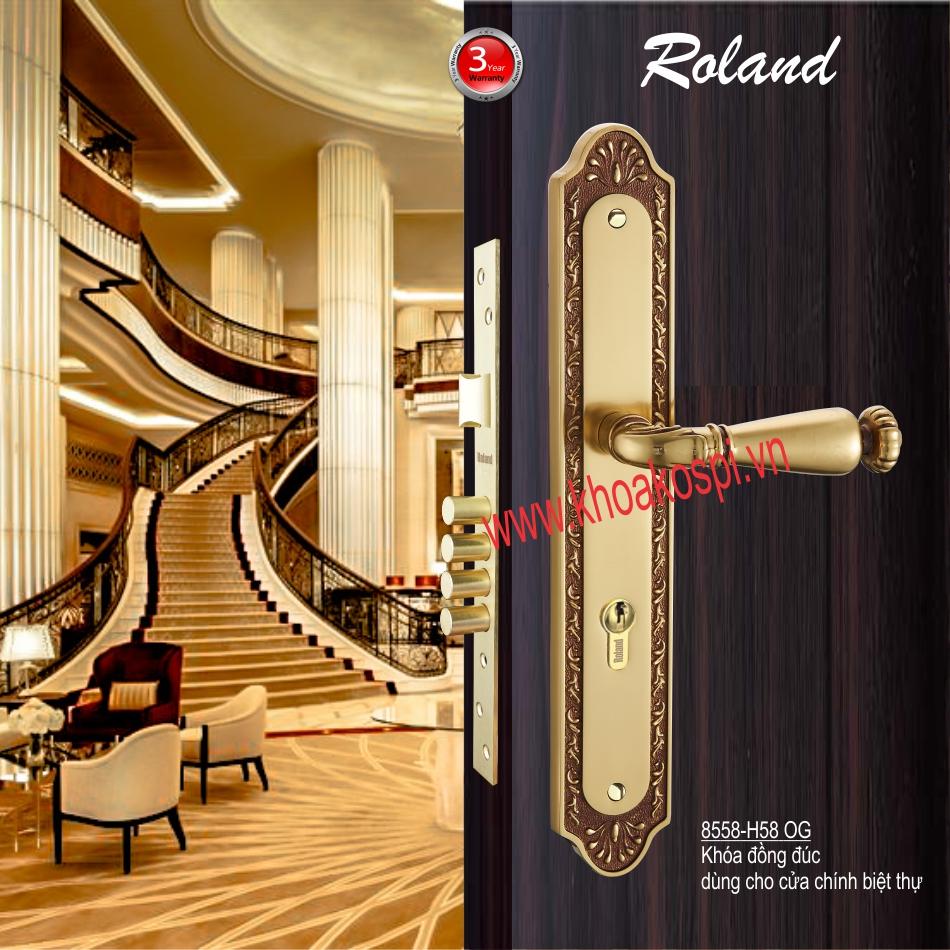 Khóa đồng đúc cửa chính hiệu Roland 8558-H58 OG